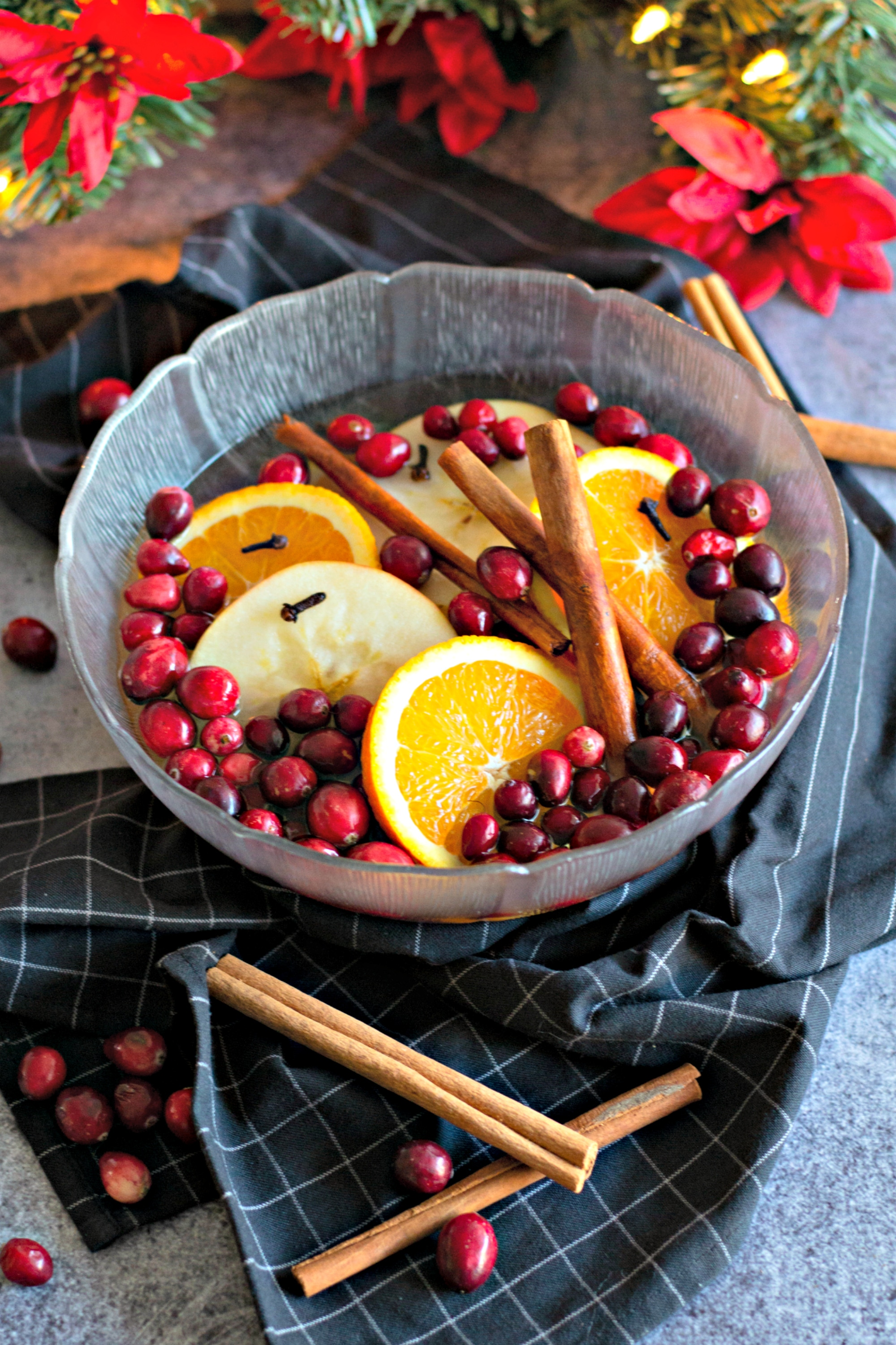 A large bowl filled with cranberries, oranges, cinnamon sticks to make stovetop potpourri